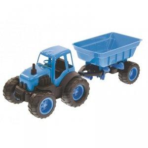 Traktor  z Przyczepą Na Gumowych Kołach Niebieski Mochtoys