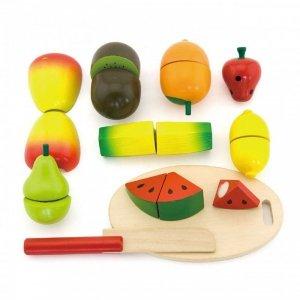 Viga Drewniany Zestaw Owoce do Krojenia Nóż Deska