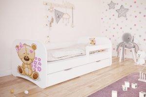 Łóżko dziecięce MIŚ Z KWIATKAMI różne kolory 140x70 cm