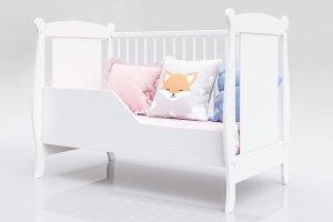 Łóżeczko niemowlęce tapczan 2w1 LAURA biały 120x60