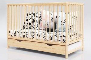 Łóżeczko niemowlęce 2w1 DOMINIK sosna 120x60 z szufladą