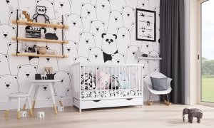 Łóżeczko niemowlęce 2w1 DOMINIK biały 120x60 z szufladą
