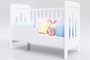 Łóżeczko niemowlęce tapczan 2w1 Zuza 140x70 biały BARIERKA GRATIS