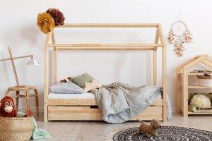 Łóżko dziecięce drewniane DOMEK Mila MS z szufladą różne rozmiary