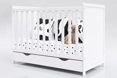 Łóżeczko niemowlęce tapczan z szufladą 2w1 Lilia 120x60 biały