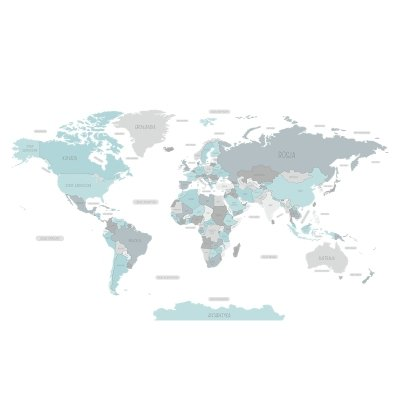Naklejka Mapa Świata Niebieska
