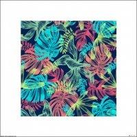 Liście tropikalne - turkusowe neony - plakat premium