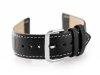 Pasek skórzany do zegarka W30 - w pudełku - czarny/białe - 24mm