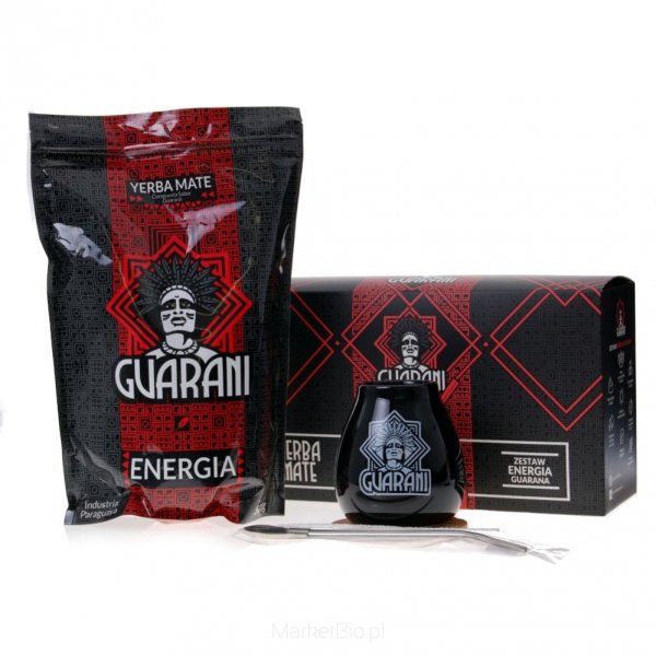 Zestaw Yerba Mate Guarani Energia 500 g + Matero + Bombilla + Podkładka + Czyścik + Pudełko Prezentowe