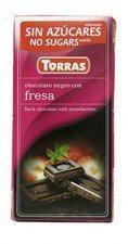 TORRAS gorzka czekolada bez cukru TRUSKAWKA 75g