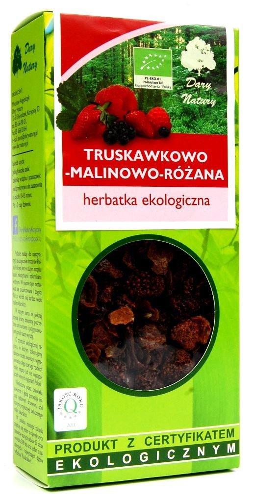 HERBATKA TRUSKAWKOWO - MALINOWO - RÓŻANA BIO 100 g - DARY NATURY
