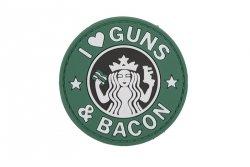 Naszywka 3D - Guns And Bacon - zielona