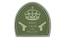 4TAC - Naszywka 3D - Keep Calm And Reload - Oliwkowy