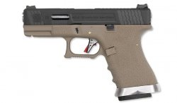 WE - Replika G19 T2 - Black Slide - Silver Barrel - Tan Frame
