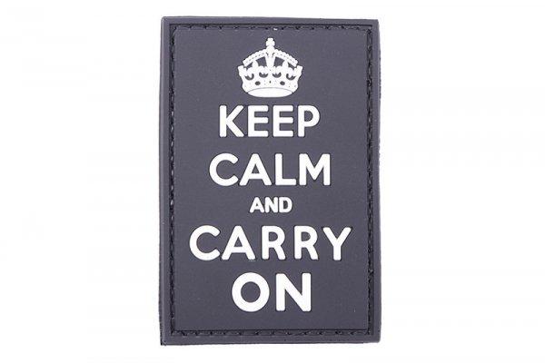Naszywka 3D - Keep Calm And Carry On - czarna