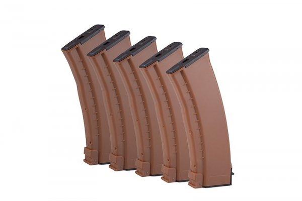 E&L - Zestaw 5 magazynków Mid-Cap na 120 kulek do AK74 - brązowy