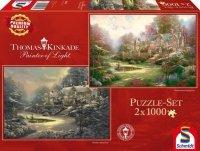 Puzzle 2x1000 Schmidt 59469 Thomas Kinkade - Spring Gate Wiosna Zima