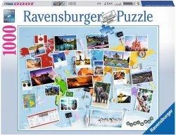 Puzzle 1000 Ravensburger 196432 Dookoła Świata - Kolaż