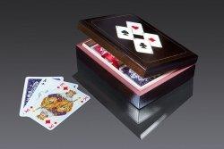 Karty lux w pudełku drewnianym z asami 2947 Piatnik 2 Talie