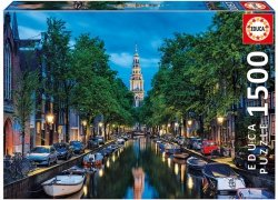Puzzle 1500 Educa 16767 Amsterdam Canal at Dusk