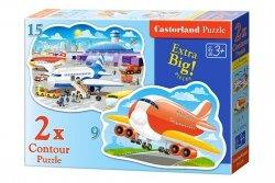 Puzzle 2w1 Castorland 15, 9  Lotnisko - Samoloty