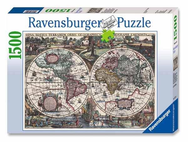 Puzzle 1500 Ravensburger 162116 Historyczna Mapa Świata 1636r