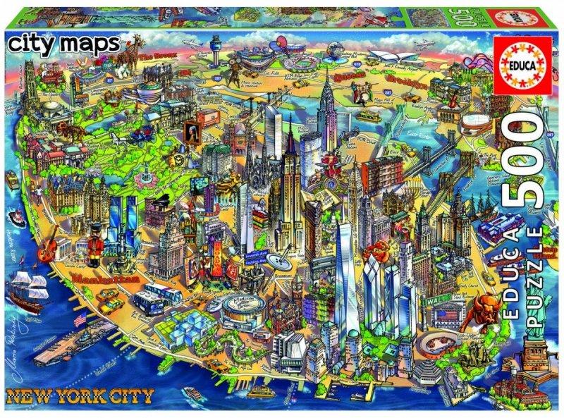 Puzzle 500 Educa 18453 New York - Mapa