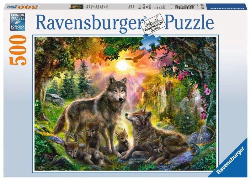 Puzzle 500 Ravensburger 147458 Wilki Zachód Słońca