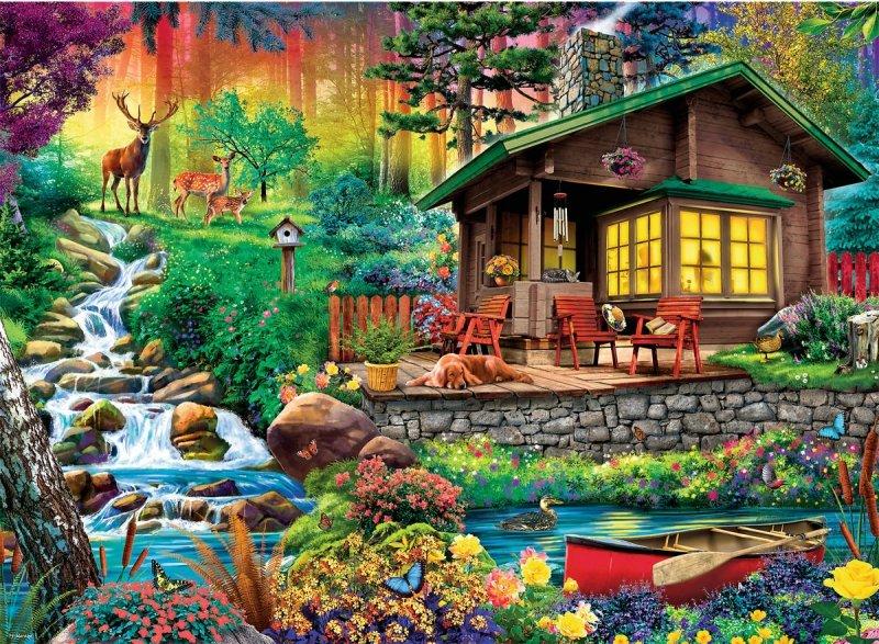 Puzzle 3000 Trefl 33074 Chatka w Lesie