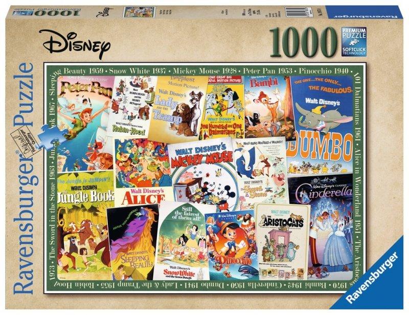 Puzzle 1000 Ravensburger 198740 Filmowe Plakaty Disneya