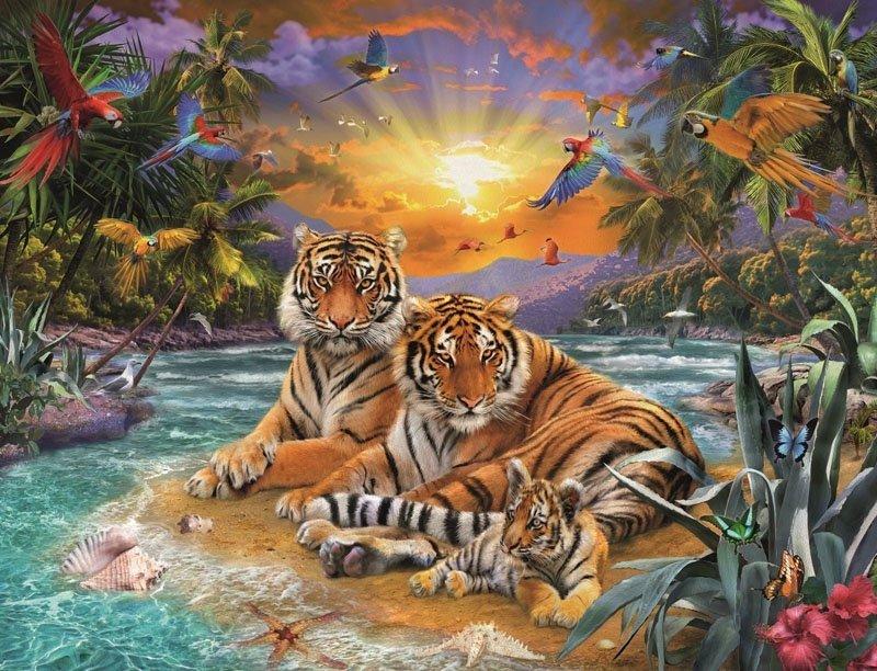 Puzzle 2000 Ravensburger 166244 Tygrysy