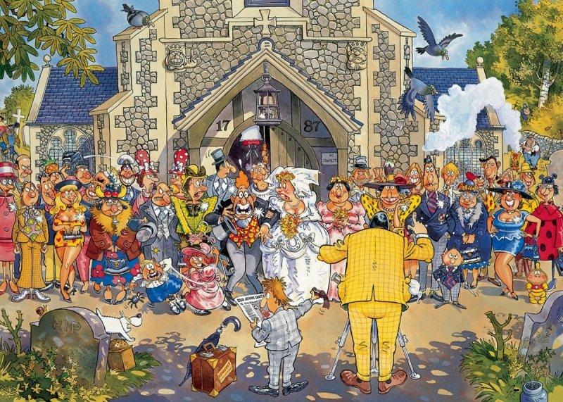 Puzzle 1000 Jumbo 19176 Wasgij Origitro 4 - Najważniejszy Dzień w Życiu