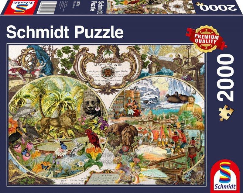 Puzzle 2000 Schmidt 58362 Egzotyczna Mapa Świata