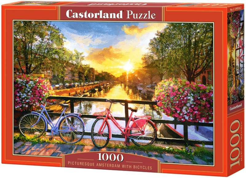 Puzzle 1000 Castorland 104536 Malowniczy Amsterdam z Rowerami