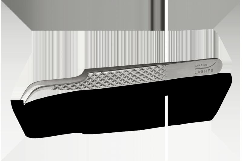 Pęseta do rzęs Diamond Silver - Curve by Amazing
