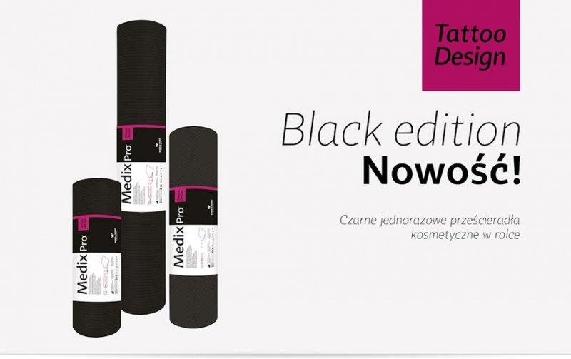 Czarne serwety podfoliowane do manicure 33x50cm (50 Sztuk Na Rolce)