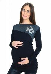 Praktyczna bluzka ciążowa i do karmienia Kwiaty 9088 czarny