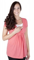 """MijaCulture - bluzka ciążowa 2 w 1 ciążowa i do karmienia krótki rękaw """" Dora"""" 7104  koral"""