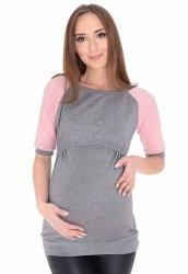 """MijaCulture - 3 w 1 bluzka ciążowa i do karmienia """"Suzi"""" 7141 szary/różowy"""