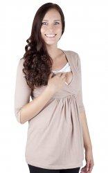 """MijaCulture - bluzka 2 w 1  ciążowa i do karmienia długi rękaw """"Dora II"""" 7103 beż"""