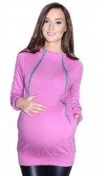 """MijaCulture - 3 w 1 ciepła bluza ciążowa i do karmienia z kapturem """"Rita"""" 7110 róż"""