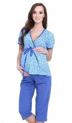 Urocza piżama 2 w 1 ciążowa i do karmienia 5001/654 niebieski