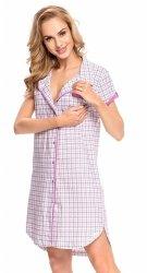 Wygodna koszula 2 w 1 ciążowa i do karmienia krótki rękaw 5068/7030 fuksja