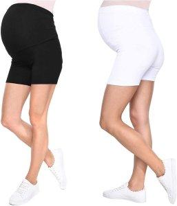 Wygodne krótkie legginsy ciążowe Mama Mia 1053/2 komplet biały/czarny