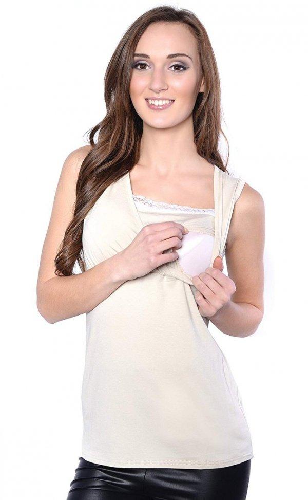 MijaCulture - top ciążowy i do karmienia z koronką 4032/M45 beż 2