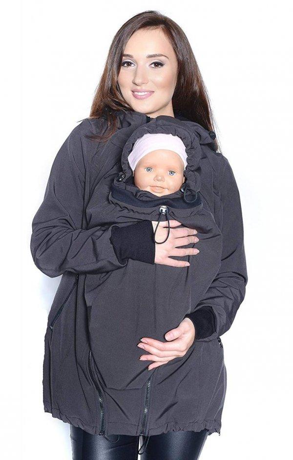kurtka softshell 3D ciążowa i do noszenia dziecka M52/4068 szary 3