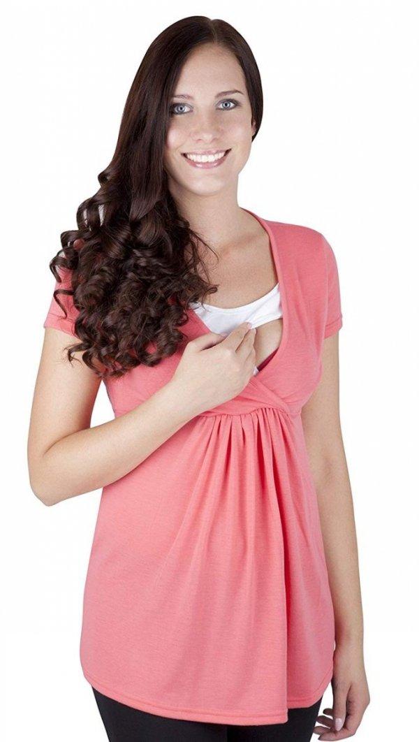 """MijaCulture - bluzka ciążowa 2w1 ciążowa i do karmienia krótki rękaw """" Dora"""" 7104 koral 1"""