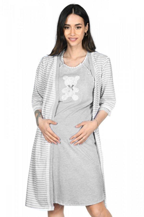 MijaCulture - 2 w 1 komplet koszula nocna i do karmienia + szlafrok 2075 melanż