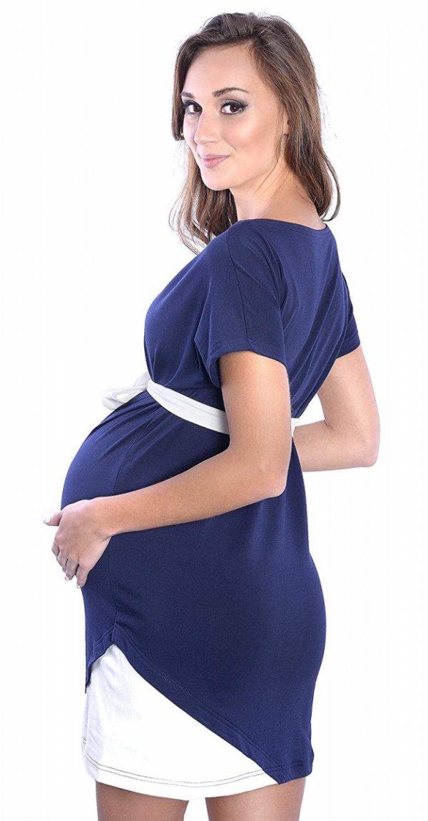 """Wyjątkowa sukienka ciążowa z ozdobnym paskiem """"Ines"""" 9072 ciemny granat 2"""