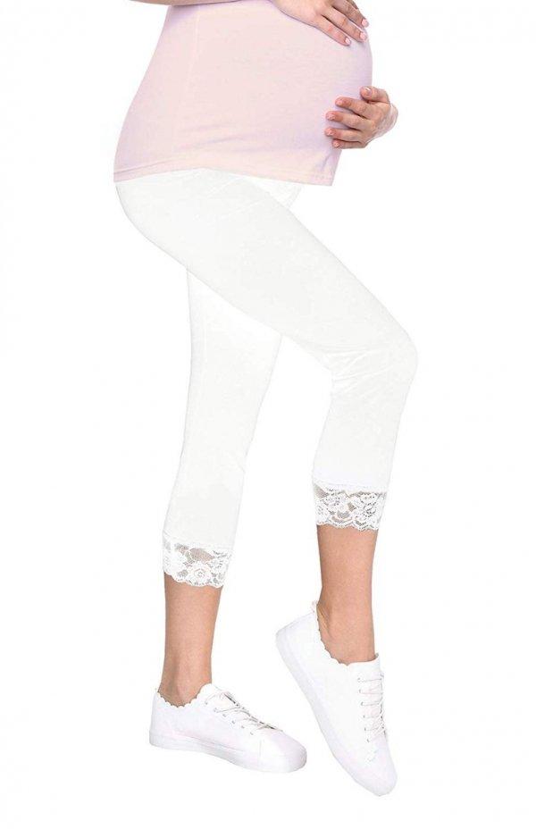 Komfortowe legginsy ciążowe 3/4 z koronką białe 3